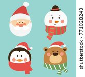 set of cute character christmas ... | Shutterstock .eps vector #771028243