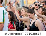 barcelona   may 31  people in a ... | Shutterstock . vector #771038617