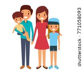 happy family standing together... | Shutterstock .eps vector #771058093