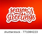 seasons greetings text on white ... | Shutterstock .eps vector #771084223