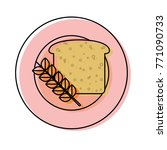 plate with bread  vector... | Shutterstock .eps vector #771090733