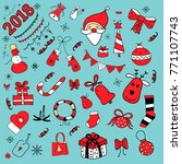 new year and christmas doodles | Shutterstock .eps vector #771107743