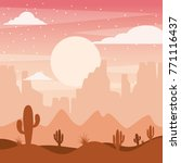 cartoon desert landscape with... | Shutterstock .eps vector #771116437