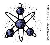 cartoon image of atom icon....