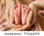 feet of newborn baby    Shutterstock . vector #771162073