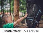 cute little caucasian boy...   Shutterstock . vector #771171043