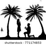 romantic proposal on seacoast... | Shutterstock .eps vector #771174853
