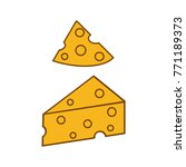 cheese line icons isolated on... | Shutterstock .eps vector #771189373