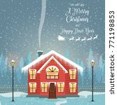 merry christmas card with house.... | Shutterstock .eps vector #771198853
