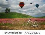 bicycle with flowers field | Shutterstock . vector #771224377