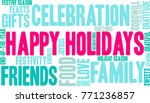 happy holidays word cloud on a... | Shutterstock .eps vector #771236857