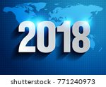 happy new year 2018.... | Shutterstock .eps vector #771240973