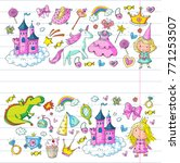 cute princess icons set with... | Shutterstock .eps vector #771253507