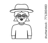 man half body with hat and... | Shutterstock .eps vector #771283483