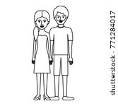 couple monochrome silhouette... | Shutterstock .eps vector #771284017