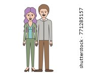 couple colorful silhouette and... | Shutterstock .eps vector #771285157