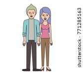 couple colorful silhouette and... | Shutterstock .eps vector #771285163