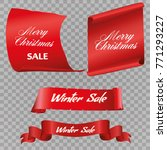 realistic red paper banners set.... | Shutterstock .eps vector #771293227