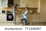 young man making proposal to... | Shutterstock . vector #771308587