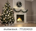 christmas scene with decorated... | Shutterstock . vector #771324313