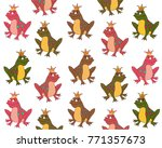 colorful frogs pattern on white ...   Shutterstock .eps vector #771357673
