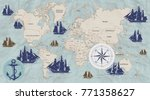 world map in vintage style | Shutterstock .eps vector #771358627