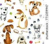 Stock photo watercolor seamless pattern different cartoon dogs and accessories 771359947