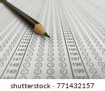 Small photo of Blank standard test form or school answer sheet with pencil, focus on answer sheet