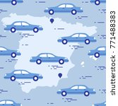pattern with cars and map of... | Shutterstock .eps vector #771488383