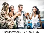 hippie friends having fun | Shutterstock . vector #771524137