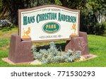 Small photo of Solvang, California 11-24-2017: entrance sign at Hans Christian Andersen Park