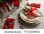 very classy a christmas table... | Shutterstock . vector #771535903