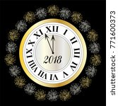 silver gold new years eve clock ... | Shutterstock .eps vector #771600373
