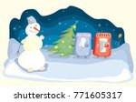 vector story with snowman on... | Shutterstock .eps vector #771605317