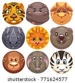 set of round gingerbread icons... | Shutterstock .eps vector #771624577