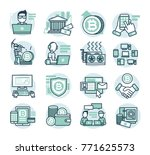 16 flat line vector icons for... | Shutterstock .eps vector #771625573