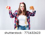unhealthy food fat woman... | Shutterstock . vector #771632623