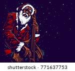 santa claus plays contrabass.... | Shutterstock .eps vector #771637753