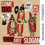 comics style christmas vintage... | Shutterstock .eps vector #771666013