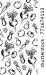 vegetable fruit monochrome ink...   Shutterstock .eps vector #771674113