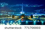 passenger airplane landing in... | Shutterstock . vector #771700003