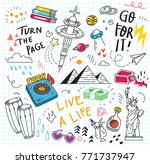 set of colorful doodle on paper ...   Shutterstock .eps vector #771737947