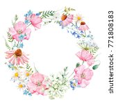 watercolor floral round wreath... | Shutterstock . vector #771808183