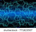 binary circuit board future... | Shutterstock .eps vector #771823507