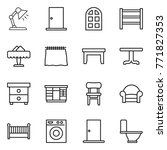 thin line icon set   table lamp ... | Shutterstock .eps vector #771827353