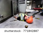 accident at work of electrician ... | Shutterstock . vector #771842887