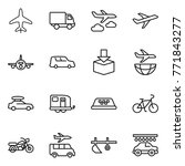 thin line icon set   plane ... | Shutterstock .eps vector #771843277