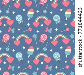 cute colorful seamless vector... | Shutterstock .eps vector #771844423