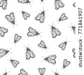 seamless pattern with butterfly.... | Shutterstock .eps vector #771861907