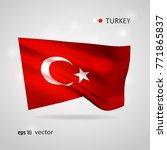 turkey 3d style glowing flag...   Shutterstock .eps vector #771865837
